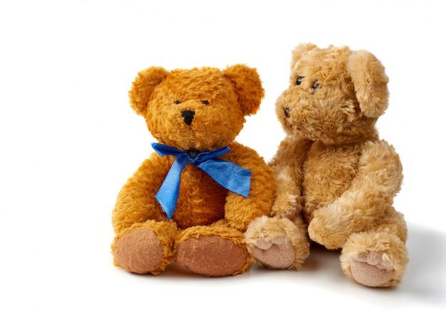 Deux ours en peluche bouclés bruns sont assis