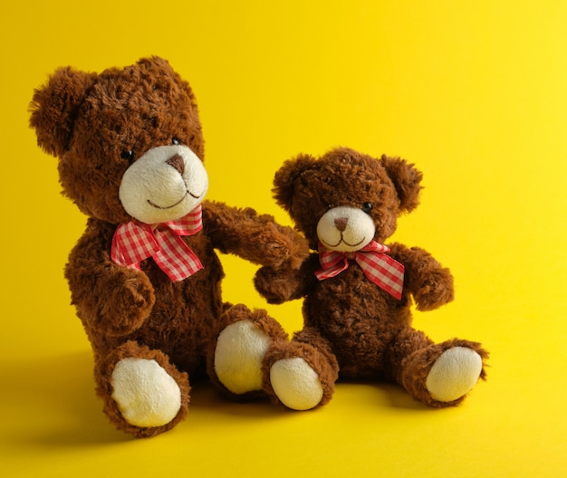 Deux ours en peluche marron sur jaune