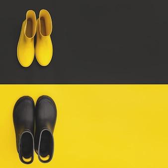 Deux paires de bottes en caoutchouc