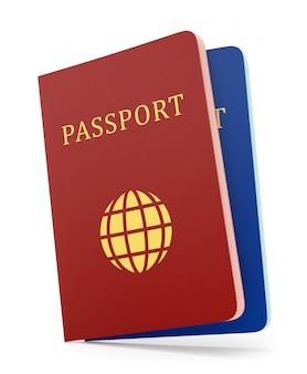 Deux passeports isolés sur blanc