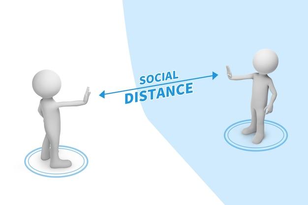 Deux personnes debout à distance avec le mot distance sociale entre le concept.