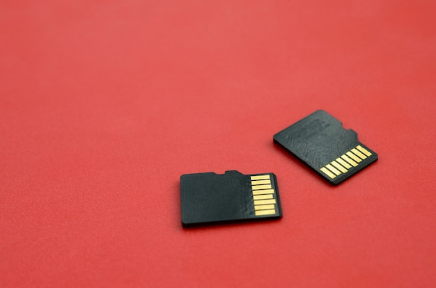 Deux petites cartes mémoire micro sd reposent sur un fond rouge