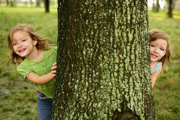 Deux petites filles jumelles jouant dans un tronc d'arbre