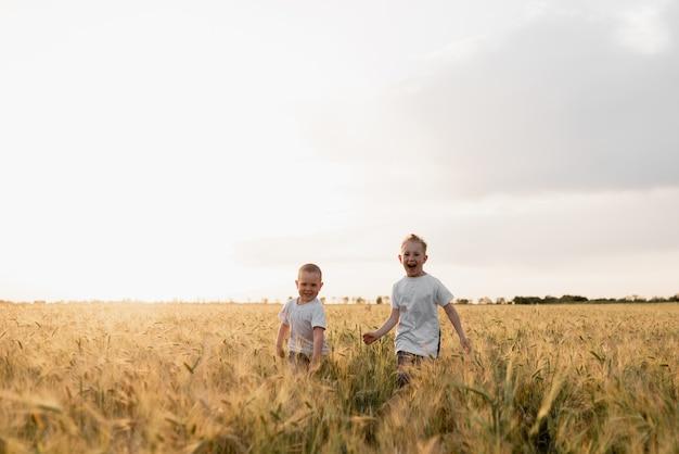 Deux petits garçons courent le long du champ de printemps et s'amusent ensemble