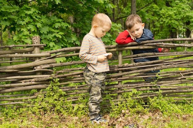 Deux petits garçons debout ayant une discussion sur une vieille clôture en bois rustique