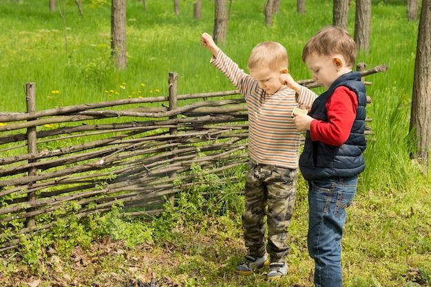 Deux petits garçons en fête parviennent enfin à allumer un petit feu de camp