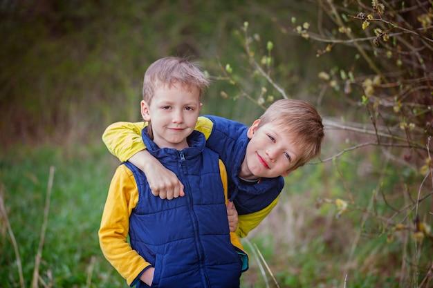Deux petits garçons de frère étreindre et s'amuser en plein air n le wa