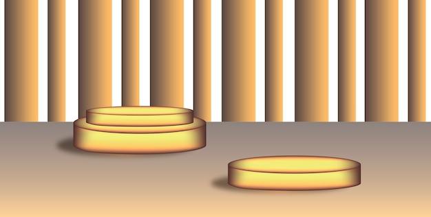 Deux podiums dorés de différentes tailles et hauteurs, arrière-plan et arrière-plan. espace pour le texte. notion de podium