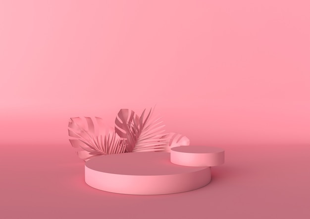 Deux podiums roses avec des feuilles tropicales sur fond rose podium pour produit cosmétique