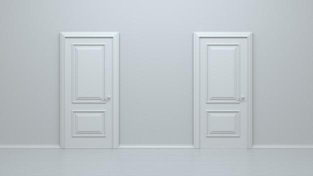 Deux portes d'entrée réalistes blanches fermées sur un mur blanc