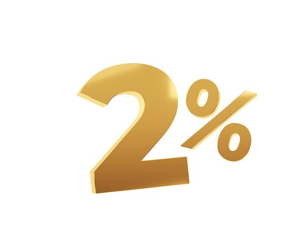 Deux pour cent d'or sur fond blanc. rendu 3d.