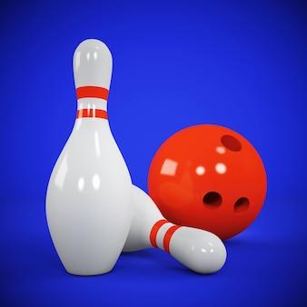 Deux quilles et boule de bowling sur bleu