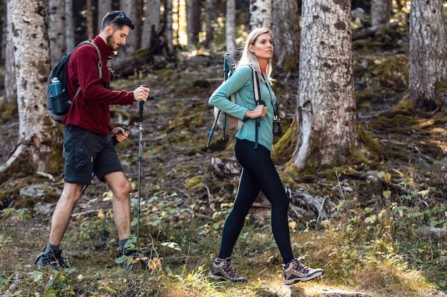 Deux randonneurs de voyage avec sac à dos marchant tout en regardant le paysage dans la forêt.