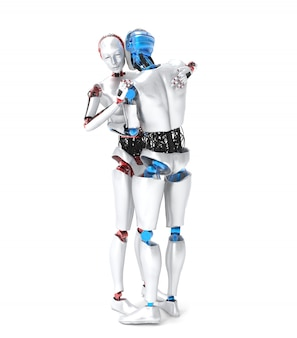 Deux robots étreignant sur blanc