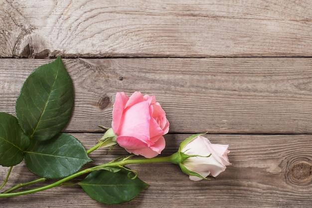 Deux roses roses sur une vieille surface en bois