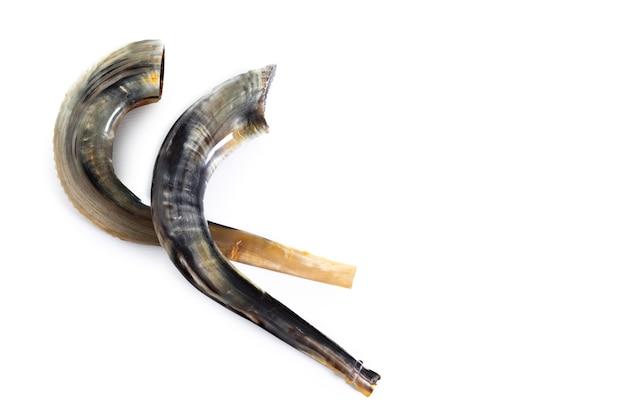 Deux shofars (cornes) sur fond blanc. rosh hashanah. yom kippour symbole traditionnel de la fête juive.