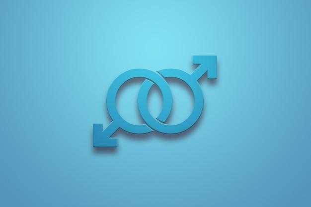 Deux signes bleus mâles sur un bleu
