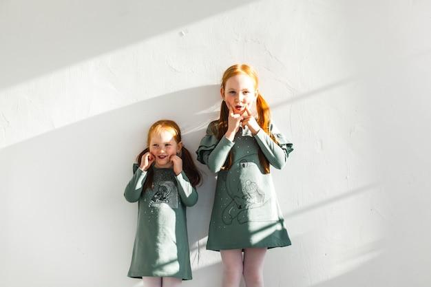 Deux soeurs, étreindre, cheveux rouges, taches de rousseur, joie, rire, famille