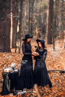 Deux sorcières dans la forêt d'automne. mère et fille préparent une potion.