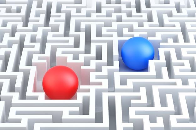 Deux sphères dans un labyrinthe. illustration conceptuelle. rendu 3d