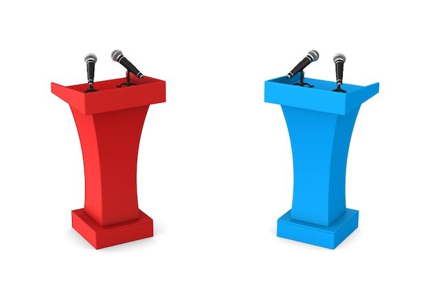 Deux tribunes avec microphones sur blanc