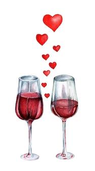Deux verres de vin et des cœurs entre eux