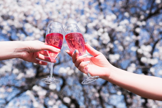 Deux verres de vin rose dans les mains des femmes dans le contexte d'un jardin de printemps en fleurs