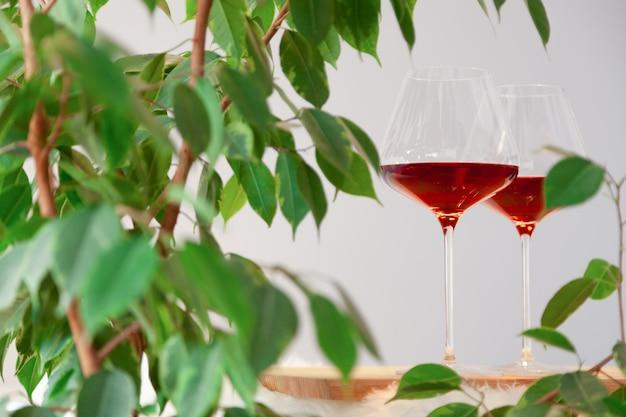 Deux verres de vin rouge sur une table en bois dans une cuisine et une plante modernes