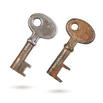 Deux vieilles clés de culbuteur à levier rouillé isolated on white