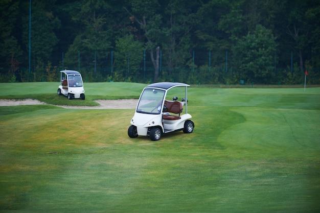 Deux voiturettes de golf