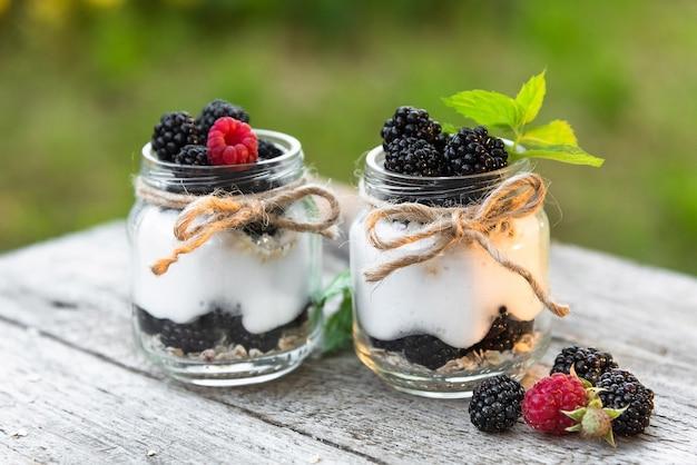 Deux yaourts frais aux mûres et framboises dans la nature.