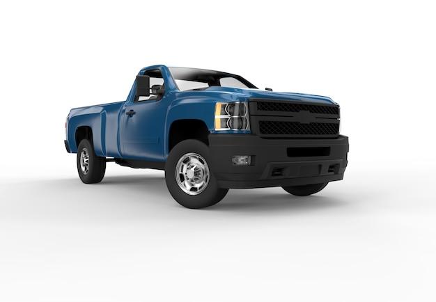 Devant une camionnette bleue