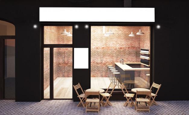 Devanture de café urbain