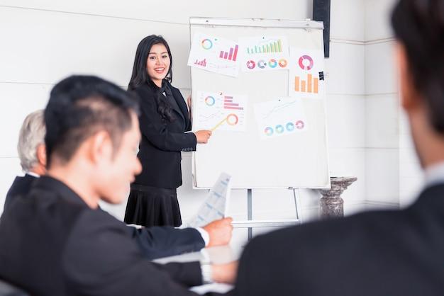 Développement personnel, coaching et formation au travail d'équipe en entreprise. rencontre et discussion avec des collègues dans la salle de conférence.