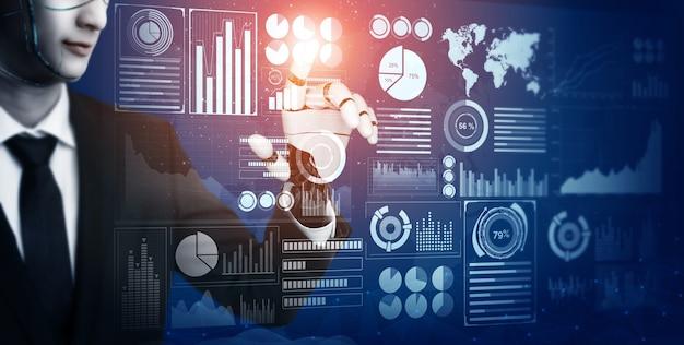 Développement de technologie robotique futuriste de rendu 3d, intelligence artificielle ia et concept d'apprentissage automatique