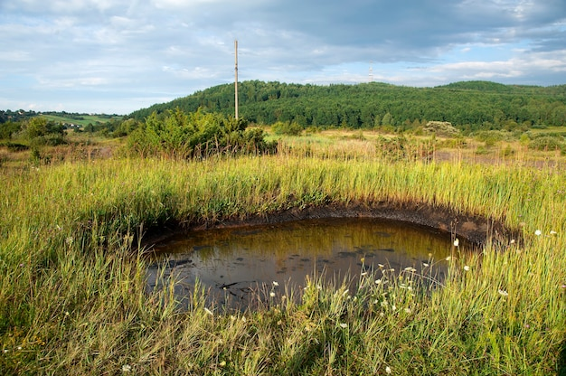 Déversements de pétrole brut à la surface du sol - pollution de l'environnement par des produits chimiques toxiques.