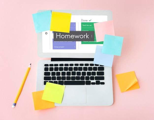 Devoirs, leçon, connaissances, tâche, mot, à, faire, liste