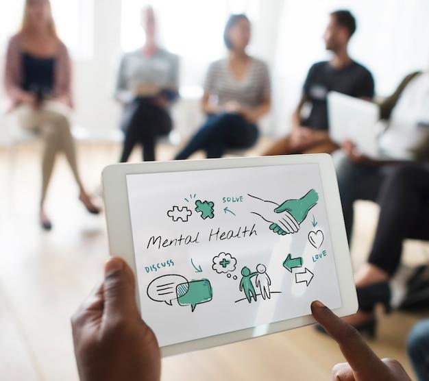 Diagramme de croquis de soins de santé mentale