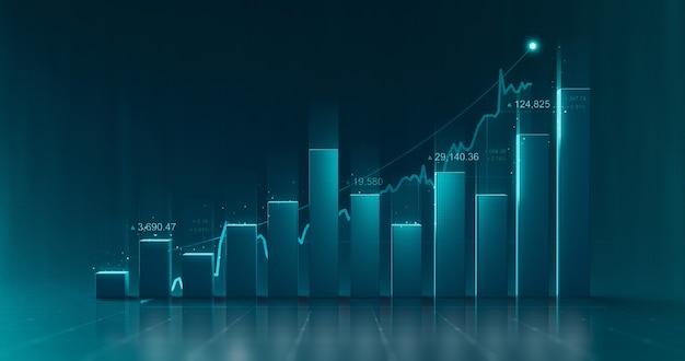 Diagramme de diagramme de graphique de données commerciales et informations de rapport graphique financier de croissance sur fond de finance futuriste avec modèle infographique d'économie boursière.