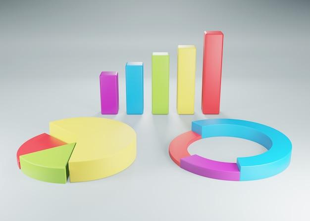 Diagrammes et graphiques de camemberts à barres d'éléments de données commerciales. rendu 3d