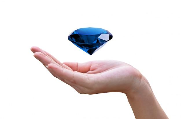 Diamant bleu dans les mains