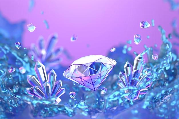 Diamant coloré abstrait avec mise au point douce éclaboussure de liquide coloré, rendu 3d