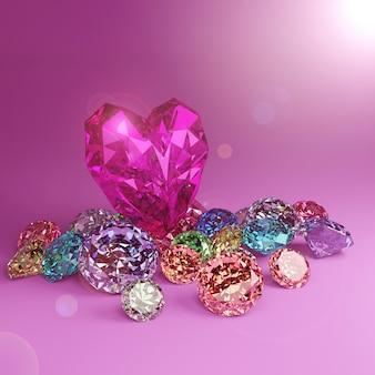 Un diamant en forme de coeur sur un tas de diamants colorés sur fond rose avec des reflets.