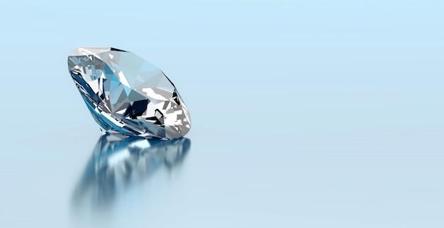 Un diamant rond placé sur fond de réflexion, rendu 3d.