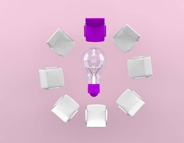 La différence de la chaise violette est placée autour de la lampe sur fond rose. concept commercial minimal.