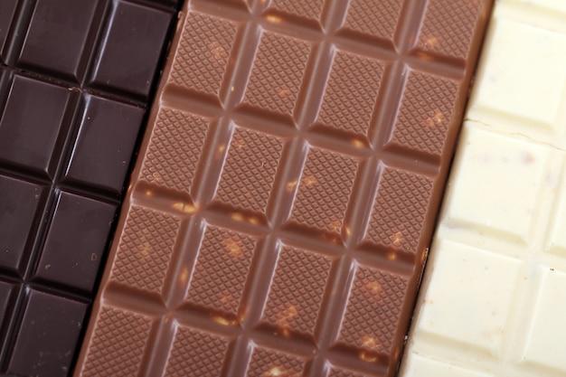 Différentes barres de chocolat