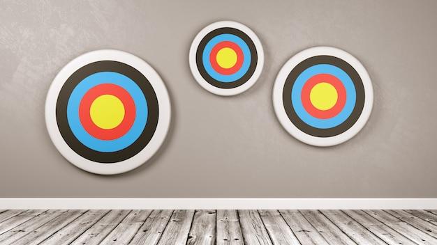 Différentes cibles sur le mur de la pièce