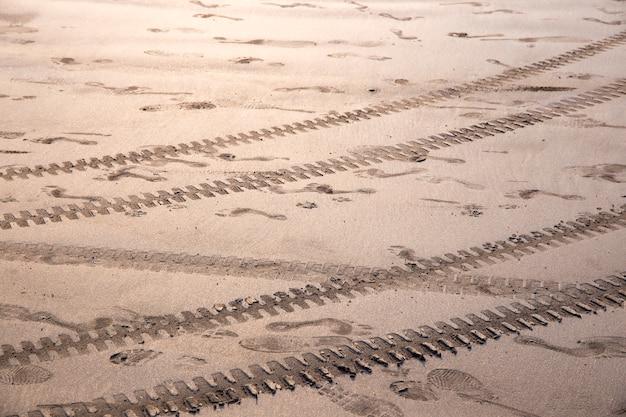 Différentes empreintes de pas dans le sable - au bord de la mer