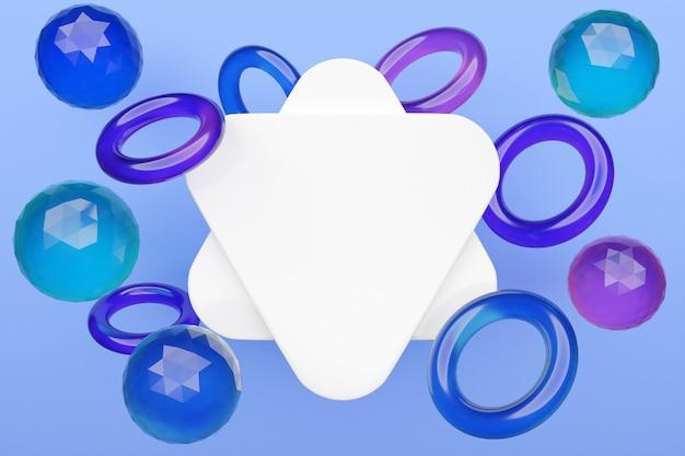 Différentes formes géométriques triangles arrondis, tore, sphère sont placés à la même distance