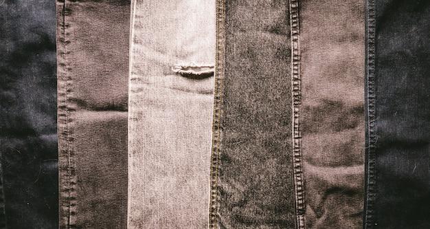 Différentes nuances de tissu denim noir